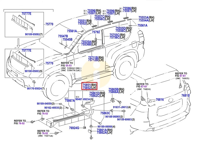 Накладка порога правая Toyota Prado 150 (2009-н.в.)
