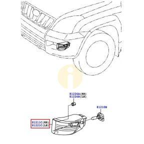 Фара противотуманная (ПТФ) правая Toyota Prado 120 (2002-2009)