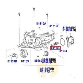Лампа ближнего света ксенон Toyota L Cruiser 200 (2007-2015)