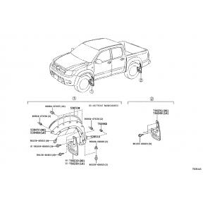 Брызговик задний правый Toyota Hilux 7 (2005-2016)