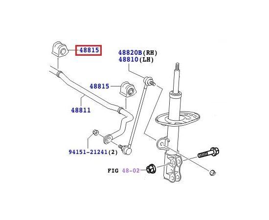 Втулка правая стабилизатора переднего Toyota Rav 4 III (2005-2013)