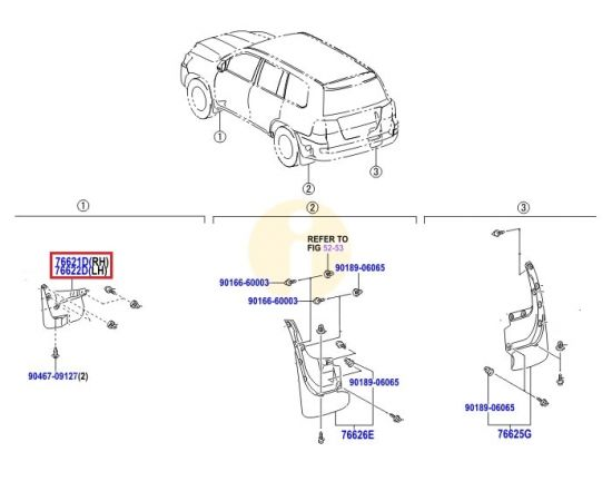 Брызговик передний правый Toyota L Cruiser 200 (2007-2015)