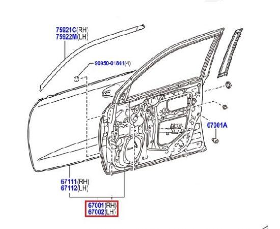 Дверь передняя правая Toyota L Cruiser 200 (2007-2015)