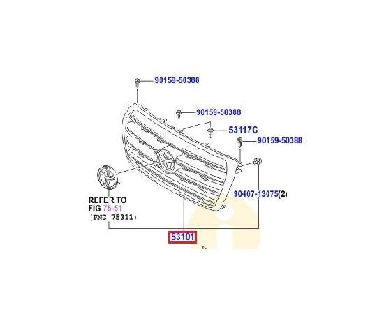 Решетка радиатора Toyota L Cruiser 200 (2007-2015)