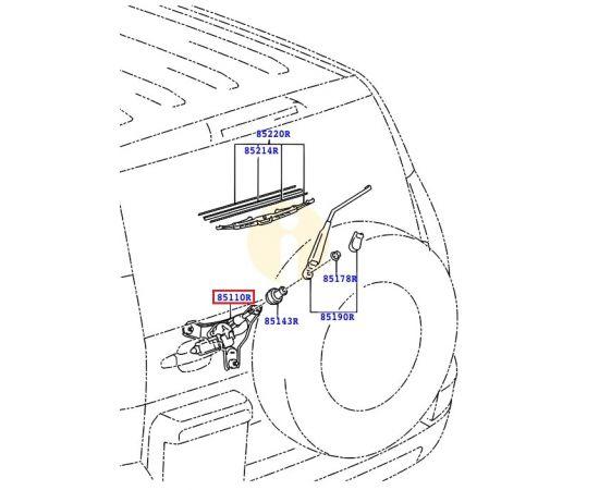 Мотор стеклоочистителя заднего в сборе Toyota Prado 120 (2002-2009)