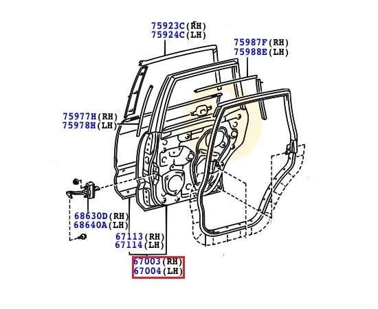 Дверь задняя правая Toyota Prado 120 (2002-2009)