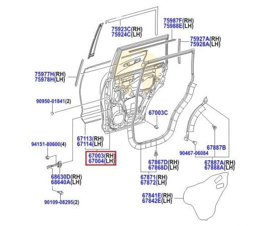 Дверь задняя правая Toyota Prado 150 (2009-н.в.)