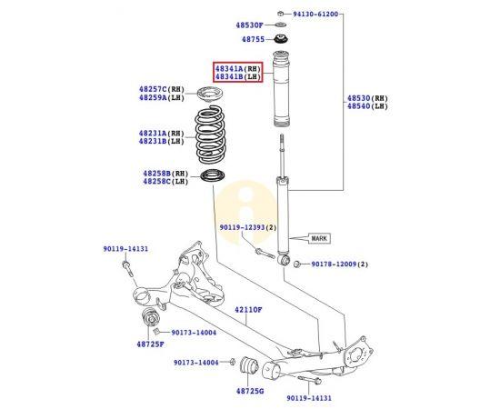Пыльник-отбойник амортизатора заднего Toyota Corolla e150 (2006-2012)