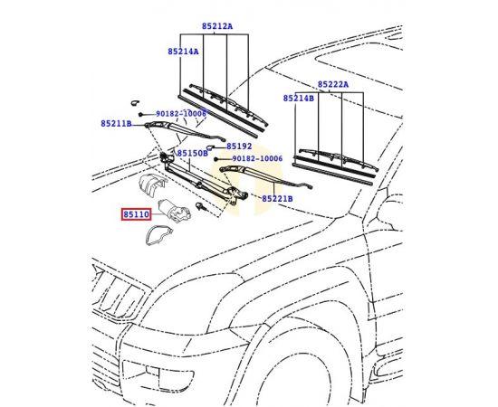 Мотор стеклоочистителя переднего Toyota Prado 120 (2002-2009)