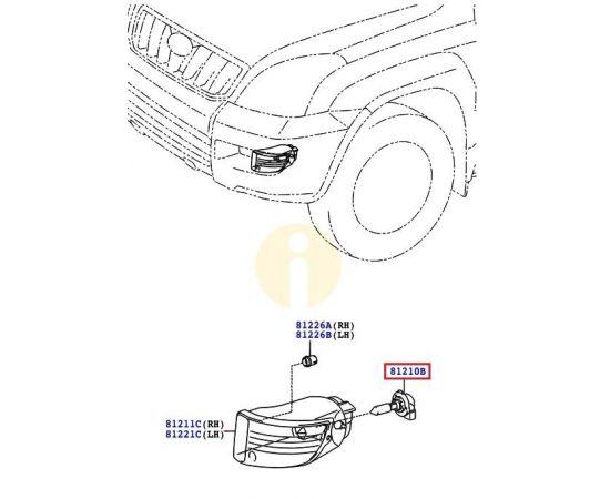 Лампа противотуманных фар (ПТФ) Toyota Prado 120 (2002-2009)