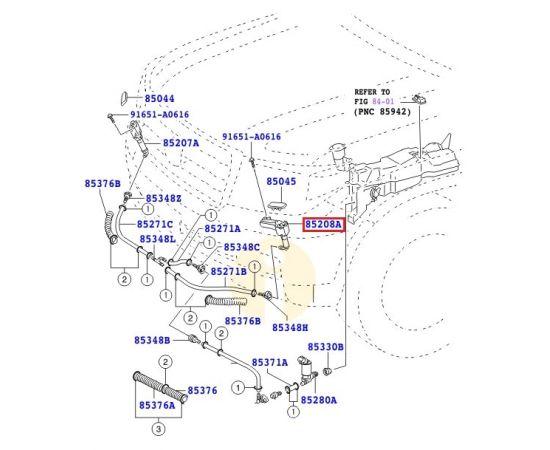 Форсунка (актуатор) омывателя фар левая Toyota L Cruiser 200 (2007-2015)