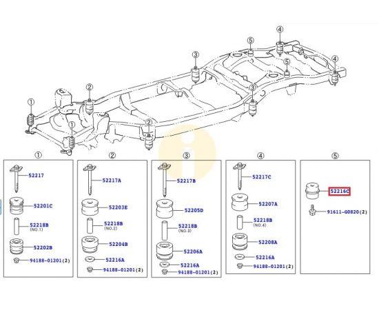Подушка (сайлентблок) рамы кузова №5 задняя Toyota L Cruiser 200 (2007-2015)