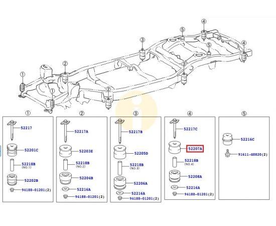 Подушка (сайлентблок) рамы кузова №4 верхняя Toyota L Cruiser 200 (2007-2015)