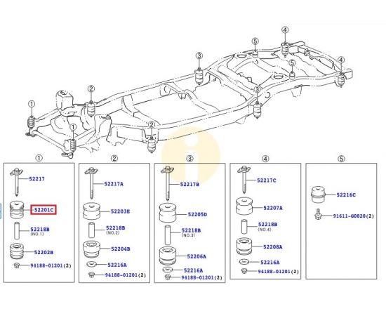 Подушка (сайлентблок) рамы кузова №1 передняя верх Toyota L Cruiser 200 (2007-2015)