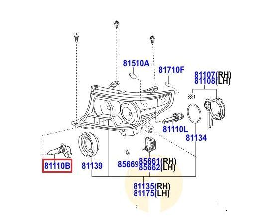 Лампа дальнего света Toyota L Cruiser 200 (2007-2015)