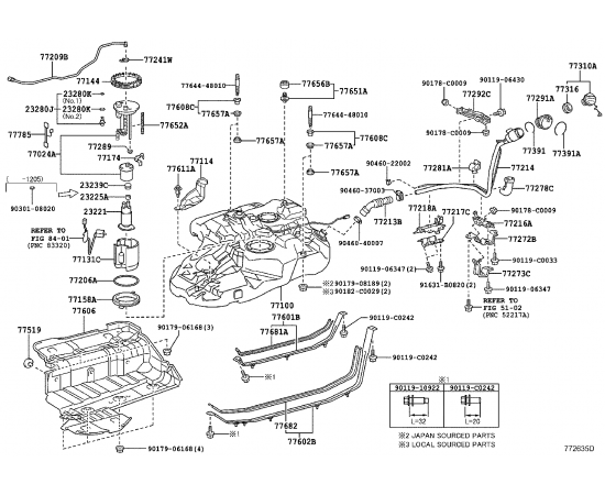 Фильтр топливный Toyota Highlander 2 (2010-2014)