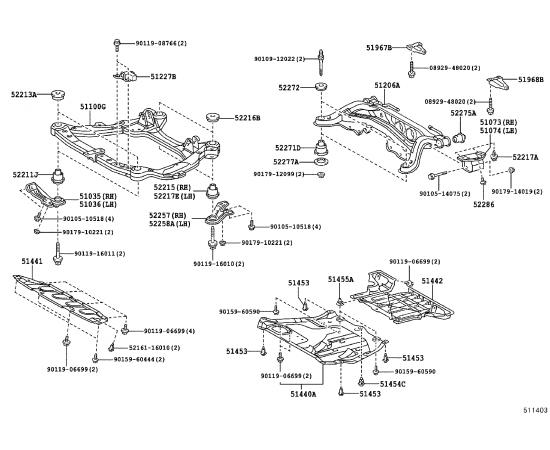 Подрамник задний Toyota Highlander 2 (2010-2014)