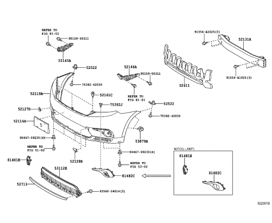 Рамка противотуманной фары правая Toyota Highlander 2 (2010-2014)