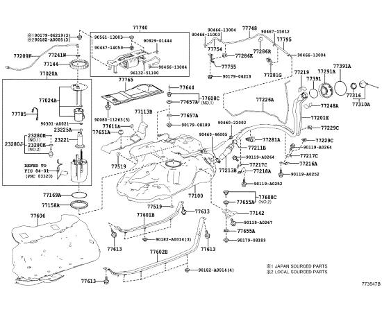 Фильтр топливный Toyota Highlander 3 (2014-н.в.)