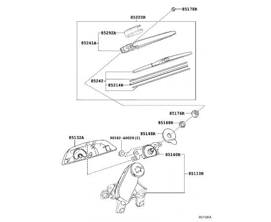 Привод стеклоочистителя заднего Toyota Highlander 3 (2014-н.в.)