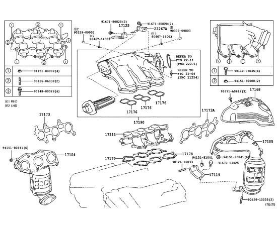 Прокладка впускного коллектора левая Toyota Highlander 3 (2014-н.в.)