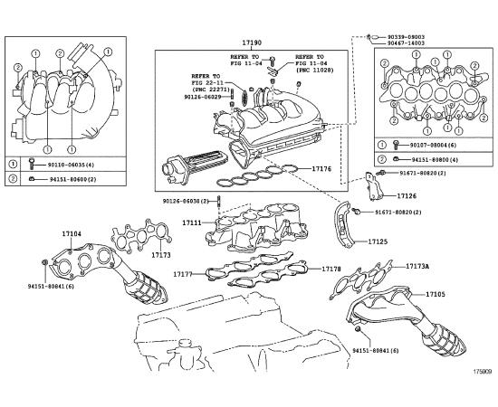 Прокладка впускного коллектора правая Toyota Highlander 3 (2014-н.в.)