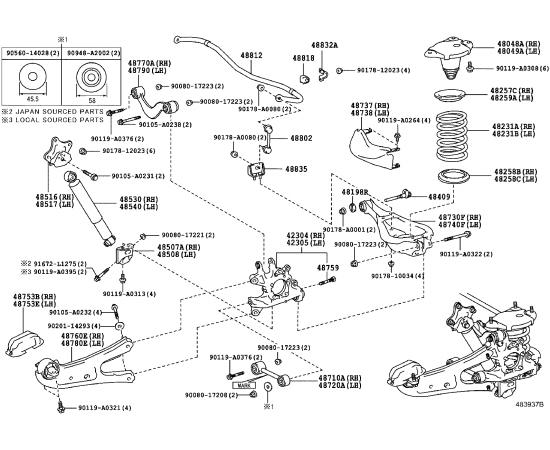 Стабилизатор подвески задней в сборе Toyota Highlander 3 (2014-н.в.)