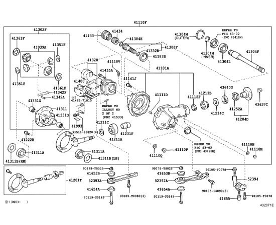 Главная пара редуктора переднего моста Toyota Hilux 7 (2005-2016)