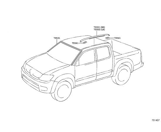 Молдинг крыши правый Toyota Hilux 7 (2005-2016)