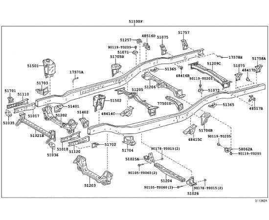 Рама в сборе Toyota Hilux 7 (2005-2016)