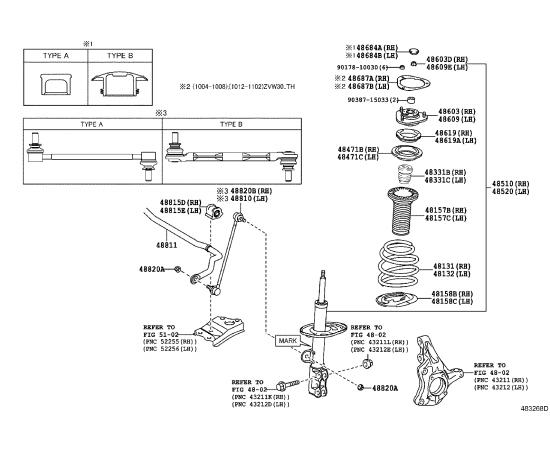 Стабилизатор подвески передний в сборе Toyota Prius 30 (2009-н.в.)