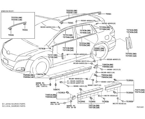 Накладка порога правая Toyota Venza (2009-н.в.)